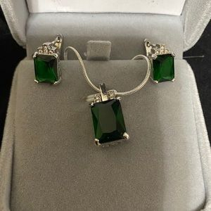 Lab Created Emerald Necklace / Earring / Ring Set